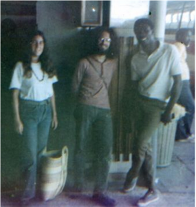 At the airport in Montego Bay - Martha, Tony (a friend) and a local Jamacian dude